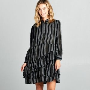 ReneeC. Women's Long Sleeve Striped Ruffle DRESS